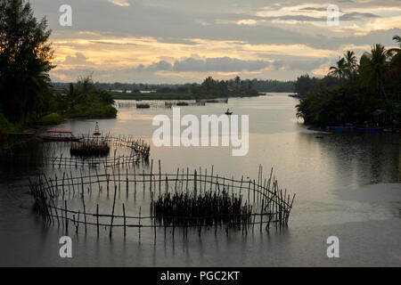 An atmospheric landscape photographed at dusk on a tributary river between the towns of Hoi An and An Bang, in Central Vietnam. In it, the silhouette  - Stock Image