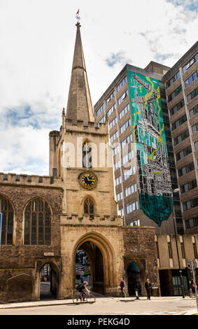 UK, England, Bristol, Nelson Street, Quay Street, North Gate, through St John the Baptist Church - Stock Image
