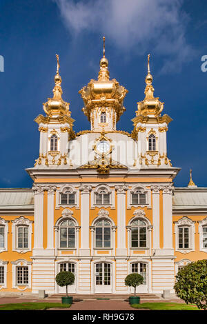 18 September 2018: St Petersburg, Russia - East Chapel, with golden domes, one of a pair flanking the main palace. - Stock Image