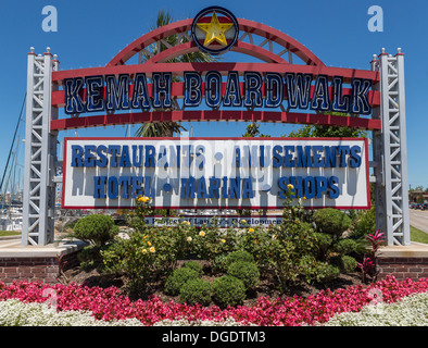 Welcome to Kemah Boardwalk sign Texas USA - Stock Image