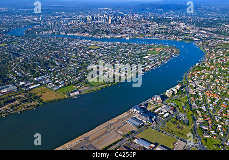 Aerial view of Portside Wharf precinct Hamilton Brisbane - Stock Image