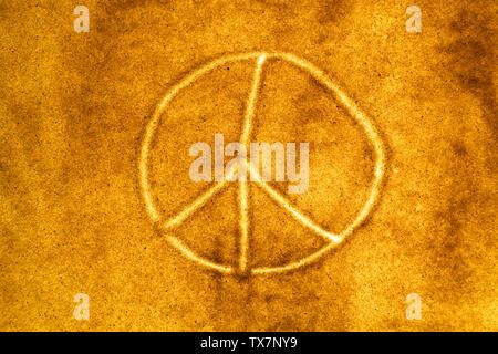 Sand animation, drawing. international symbol of peace - Stock Image