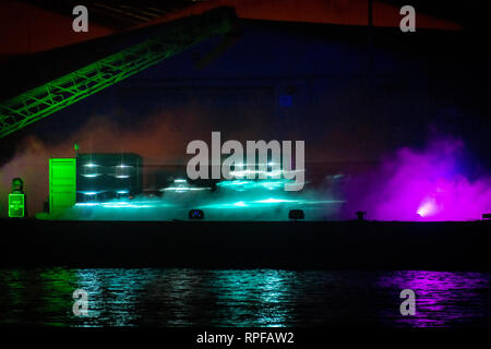 Poole, UK. 21st Feb, 2019. Poole, Dorset. 21st February 2019. Hundreds of visitors head to Poole Quay and town centre to see the light and art installations as part of the 'Light Up Poole' arts festival. Lottery and Arts Council England funded, the free night time event carries on until the 23rd February in Poole. Credit: Thomas Faull/Alamy Live News - Stock Image