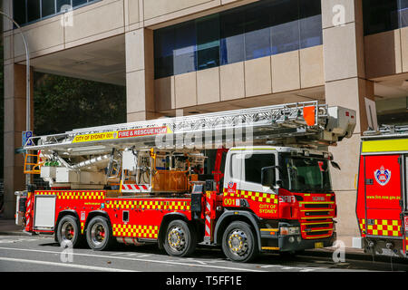 NSW City of Sydney fire brigade truck engine parked in Sydney city centre,Australia - Stock Image