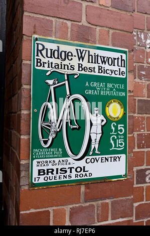 Vintage advertising sign for Rudge Whitworth, said to be Britain's Best Bicycle, Blists Hill Victorian Town, Shropshire, UK - Stock Image
