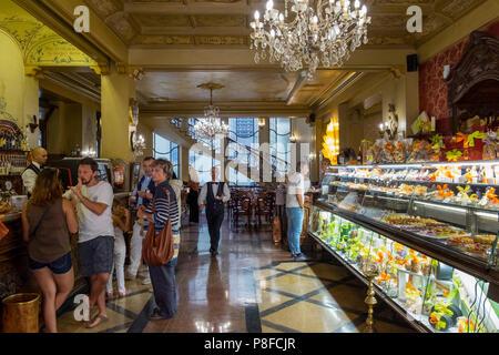 Interior of the historic Caffè Torino, Piazza San Carlo, Turin, Italy - Stock Image