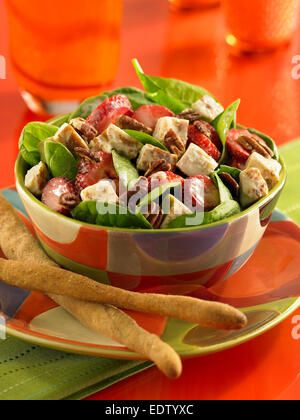 Strawberry chicken salad - Stock Image