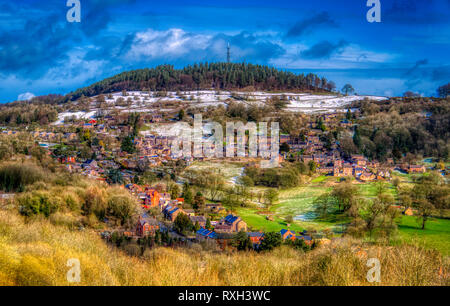 Bolehill, Derbyshire, UK. 10th March, 2019. UK Weather: Snow over Bolehill, Wirksworth, Derbyshire Dales Credit: Doug Blane/Alamy Live News - Stock Image
