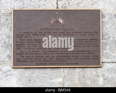 Operation Torch commemorative plaque - Stock Image