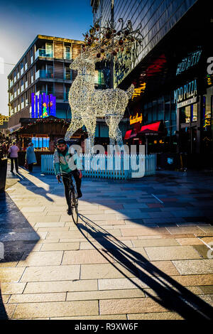 Christmas decorations in the Highcross Centre in Leicester. - Stock Image