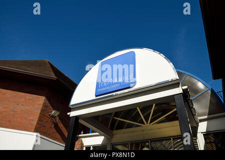 The entrance to The Market Shopping Centre on Market Street in Crewe town centre UK - Stock Image
