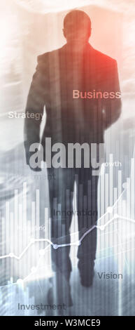 Vertical Panorama Banner. Business abstract background double exposure graph, chart and diagram. World wide map and. Global business and financial - Stock Image
