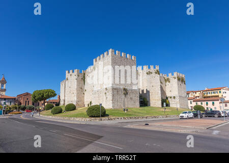 Castello dell'Imperatore - medieval castle with crenellated walls and towers built for emperor Frederick II in Prato, Italy - Stock Image