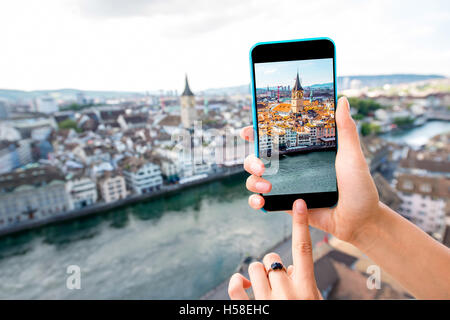 Photographing Zurich cityscape - Stock Image