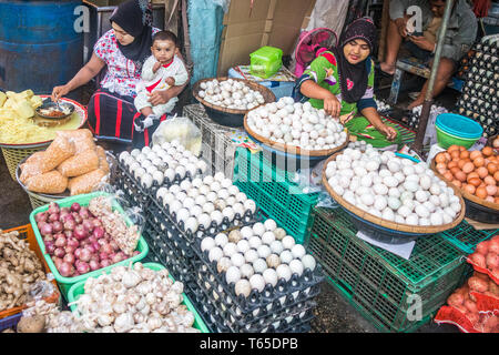 Mae Sot, Thailand - February 3rd 2019: Eggs for sale on the market. Produce here is cheap as much of it comes from Myanmar. - Stock Image