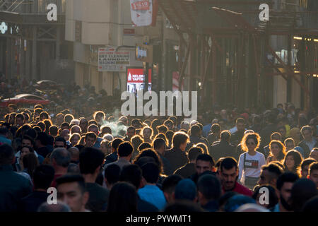 Crowded Istiklal Avenue in Istanbul, Turkey - Stock Image