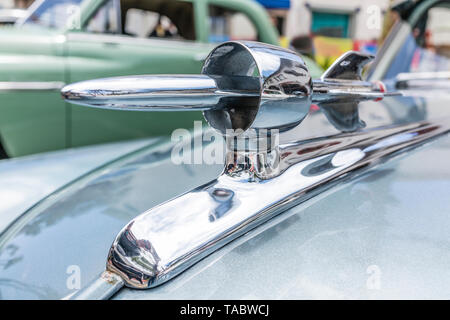 Rocket hood ornament on classic car at the State Street Nationals Premier Car Show on May 19th, 2019 on State Street which was closed to traffic to al - Stock Image