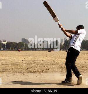 Cricket in the park, Kathmandu - Stock Image