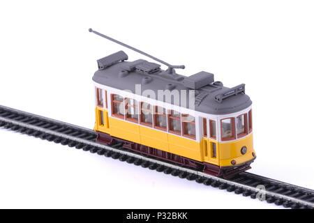 The Lisbon yellow tram. - Stock Image