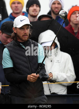 Portrush, County Antrim, Northern Ireland. 17th July 2019. The 148th Open Golf Championship, Royal Portrush Golf Club, Practice day ; Tommy Fleetwood (ENG) prepares to hit his tee shot on the 14th hole Credit: Action Plus Sports Images/Alamy Live News - Stock Image