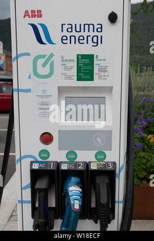 Electric car charging station in Andalsnes, Norway - Stock Image