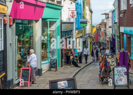 The Old High Street,Folkestone Creative Quarter,Folkestone,Kent,England,UK - Stock Image