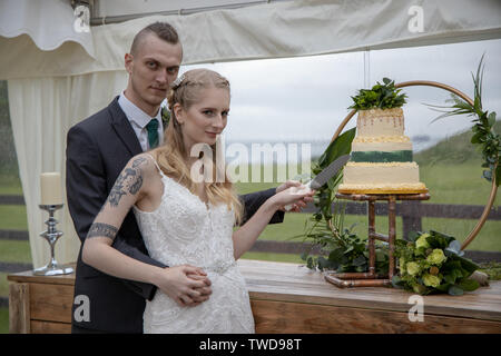 couple cutting their Wedding cake, Jennycliff, Plymouth, Devon, UK - Stock Image
