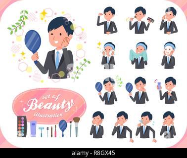 A set of businessman on beauty.There are various actions such as skin care and makeup.It's vector art so it's easy to edit. - Stock Image