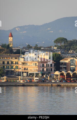 View from the sea towards Old Corfu Town, Corfu, GREECE, PETER GRANT - Stock Image