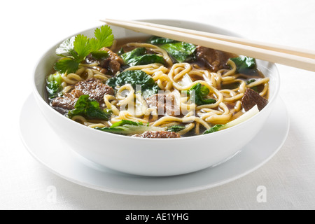 Beef Stew Noodle Soup Noodles spicy oyster sauce meat beef chinese food with green onion dish white plate delicious - Stock Image
