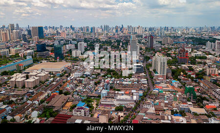 drone shot over Bangkok, Thailand - Stock Image