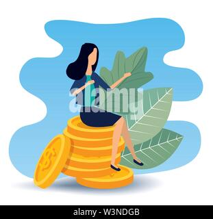 busineswoman sitting in the coins with leaves plants - Stock Image