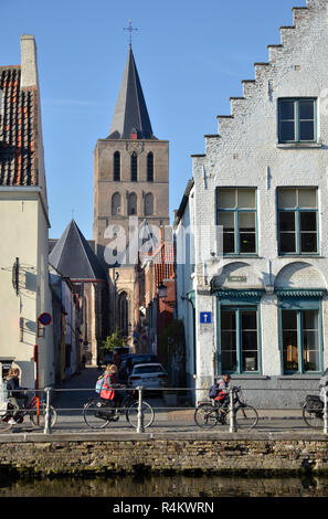 Flemish style buildings in Bruges, Belgium - Stock Image