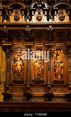 Malaga Cathedral Choir - ornate medieval carvings in the Choir, Catedral de Malaga, Malaga old town, Andalusia Spain - Stock Image