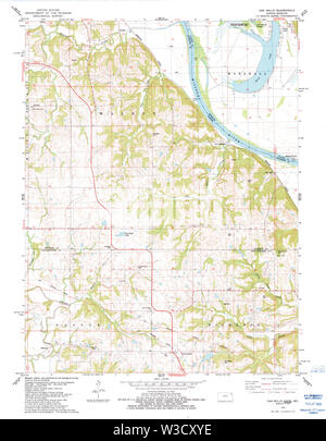USGS TOPO Map Kansas KS Oak Mills 512137 1984 24000 Restoration - Stock Image