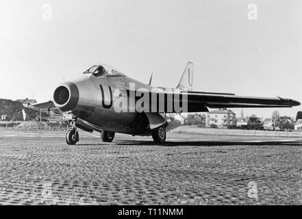 The Saab 29 Tunnan is a Swedish fighter that was designed and manufactured by Saab in the 1940s. It was Sweden's second turbojet-powered combat aircraft, the first having been the Saab 21R; additionally, it was the first Western European fighter to be produced with a swept wing after the Second World War, the Me 262 having been the first during the war. Despite its rotund appearance, from which its name derives, the J 29 was a fast and agile aircraft for its era. It served effectively in both fighter and fighter-bomber roles into the 1970s. - Stock Image