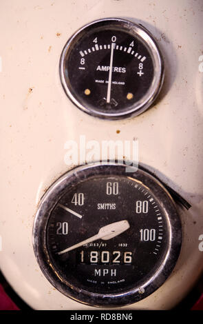 Detail of the speedometer on a vintage motorbike - Stock Image