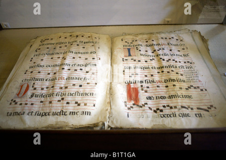 Antique songbook (livro do coro) 16th century middle ages in the Chapel of Bones, Church of St Francis, Evora, Portugal, - Stock Image