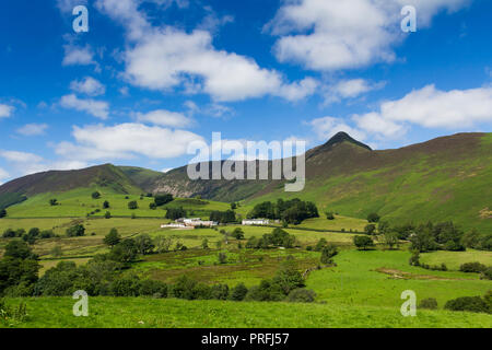 Newlands valley Cumbria, looking north-west from Littletown towards Birkrigg, Derwent Fells and Causey Pike  rising sharply to 637 metres centre right - Stock Image