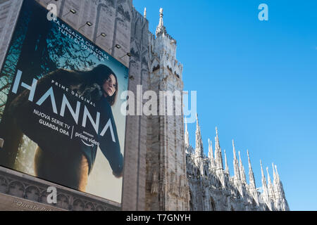 Advertising board for Amazon Prime on the exterior of Milan Cathedral, Piazza del Duomo, Milan, Italy - Stock Image