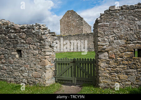 View of Ruthven Barracks from the Stables, both now ruins and owned by Historic Scotland, near Kingussie in Cairngorms National Park, Scotland, UK. - Stock Image