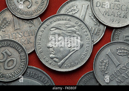 Coins of Germany. German politician Franz Josef Strauss depicted in the German two Deutsche Mark coin (1989). - Stock Image