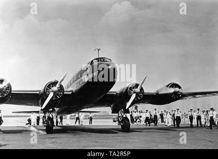 Focke-Wulf FW 200 Condor after a nonstop flight from Berlin to New York.The flight was made known to the public, when the aircraft had already covered about half of the distance. - Stock Image