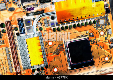 computers circuitboard , microchips and electronic components - Stock Image