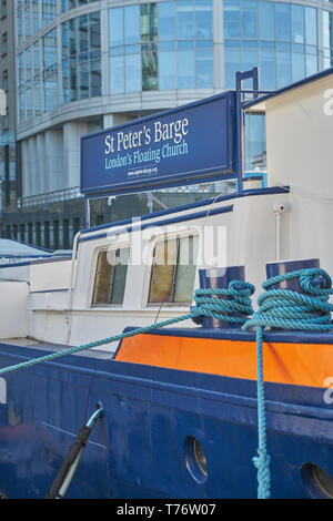 st peter's barge. London's floating church - Stock Image