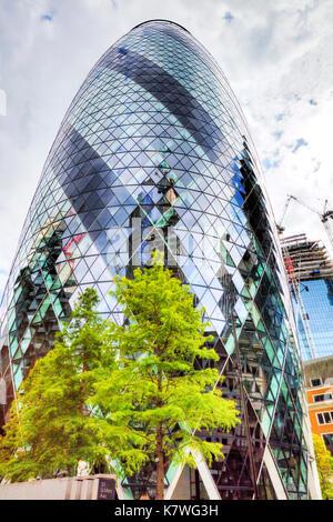 30 St Mary Axe The Gherkin, London, England, 30 St Mary Axe, The Gherkin London, London Gherkin, the gherkin London UK, Gherkin London, UK Gherkin - Stock Image