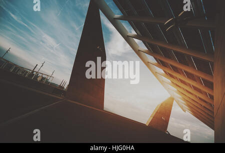 Abstract fragment of modern contemporary hi-tech solar photovoltaic panel, huge solar battery, giant energy producing - Stock Image