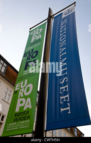 Europe meets the world information banners at the Danish National Museum in Copenhagen - Stock Image