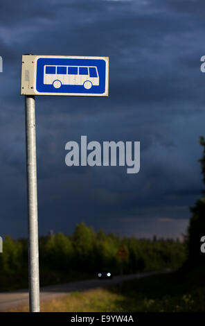 Finnish bus stop sign ( long range buses ) , Finland - Stock Image