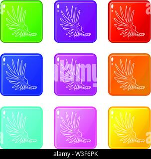 Wide wing icons set 9 color collection - Stock Image